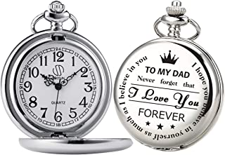 Pocket Watch Men Personalized Chain SIBOSUN Quartz from Son Daughter Child to DAD Engraved