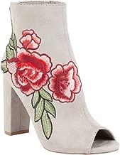 Wild Diva Women's Rose Embroidered Peep Toe Heeled Booties