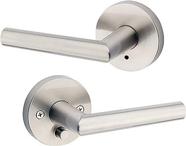 Kwikset Satin Nickel 91550-003 Milan Door Handle Lever with Modern Contemporary Slim Round Design for Home Bedroom or Bathroo