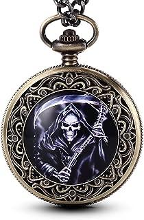 GORBEN Men's Skull Death Series Fob Watches Steampunk Quartz Movement Pocket Watch with Chain Pendent