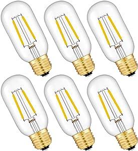 CRLight LED Tubular Edison Bulb 25W Equivalent 250LM, 2W 2700K Warm White E26 Medium Base LED Filament Light Bulbs, Antique Style T14(T45) Dimmable LED Tubular Bulbs, 6 Pack