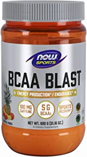 NOW Foods Sports Nutrition, BCAA Blast Powder, 5 g BCAA, 100 mg Caffeine, Tropical Punch, 600-Grams