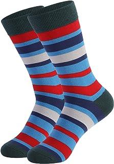 INNER PEACE Men's Mid-rise Cotton Striped Street Hip-hop All-season Skateboard Socks Stripes Multi Color Mid-Calf Cute Sty...