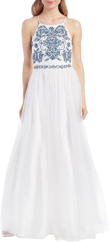 Speechless Women's Junior's Full Length Formal Maxi Dress with Caviar Beading