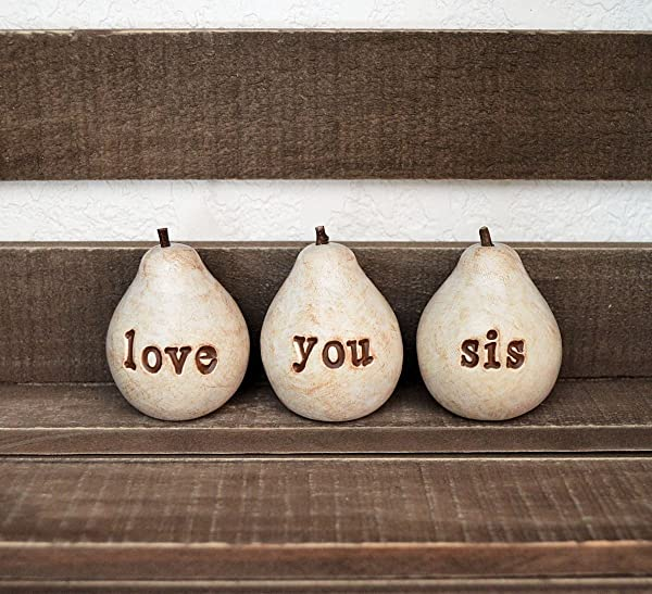 Love You Sis Pears Sister Gift Idea Hand Stamped Clay Pears
