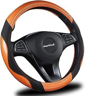 AmeriLuck Steering Wheel Cover for Car, Universal 15 inch, Odorless, Breathable, Anti-Slip, Sporty, Soft and Snug Grip, Carbon Fiber Effect (Orange   Back)