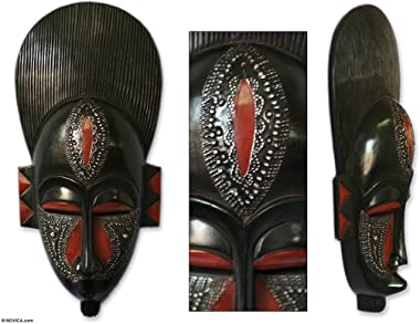 NOVICA Black and Red Handcrafted Ghanaian Wood Wall Mask, in Silence'