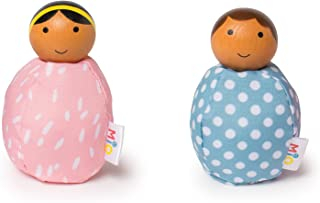 MiO Wooden Bean Bag People Peg Doll Toys - Light Blue & Pink Imaginative Play Characters by Manhattan Toy