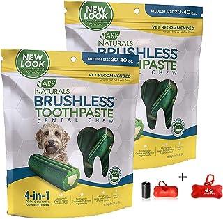 ARK NATURALS Brushless Toothpaste, Dog Dental Chews for Medium Breeds, Vet Recommended for Plaque, Bacteria & Tartar Control 2 Pack (36oz Total) Including Luving Pets Waste Bag Dispenser