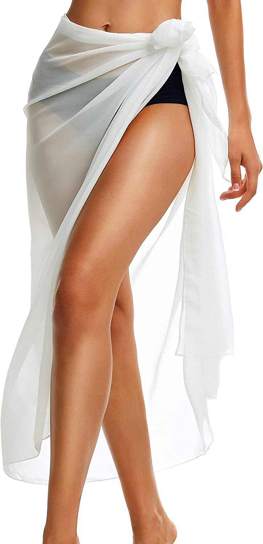CHICGAL Womens Sarong Swimsuit Cover Ups Long Beach Wrap Skirt Sheer Bikini Bathing Suit Bottom for Swimwear(White,S)