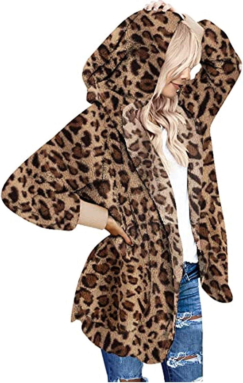 Fuzzy Fleece Hooded Cardigan for Women Open Front Leopard Faux Fur Coats Casual Long Sleeve Outerwear Jackets