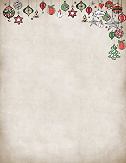 """Great Papers! Vintage Ornaments Holiday Letterhead, 8.5"""" x 11"""", 80 sheets (2018023)"""