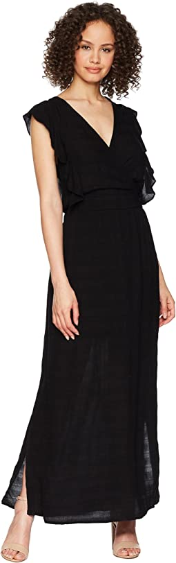 Michael Stars Plissé Ruffle Maxi Dress