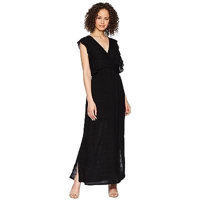 Michael Stars Plisse Ruffle Maxi Dress (Black) Women