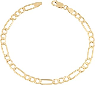 14 Karat Yellow Gold Solid Figaro Chain Anklet Ankle Bracelet 2.7mm 10