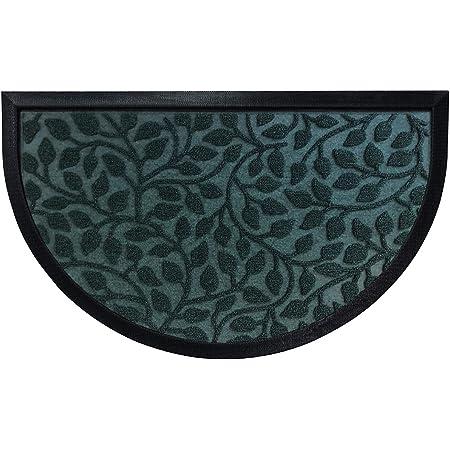 Gorilla Grip Durable Natural Rubber Door Mat, 35x23 Half Circle Heavy Duty Welcome Doormat for Indoor Outdoor, Waterproof Easy Clean Low-Profile Mats for Winter, Busy Areas, Moss Vine Leaves
