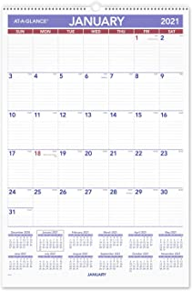 """2021 Wall Calendar by AT-A-GLANCE, 15-1/2"""" x 22-3/4"""", Large, Monthly, Wirebound (PM32821)"""
