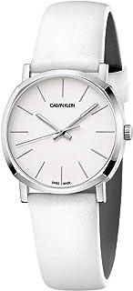ساعة كالفن كلاين بوش 32 ملم صناعة سويسرية بسوار جلد ابيض للنساء