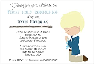 The Melange Market Customized Boys (Blonde Hair) First Communion Invitation