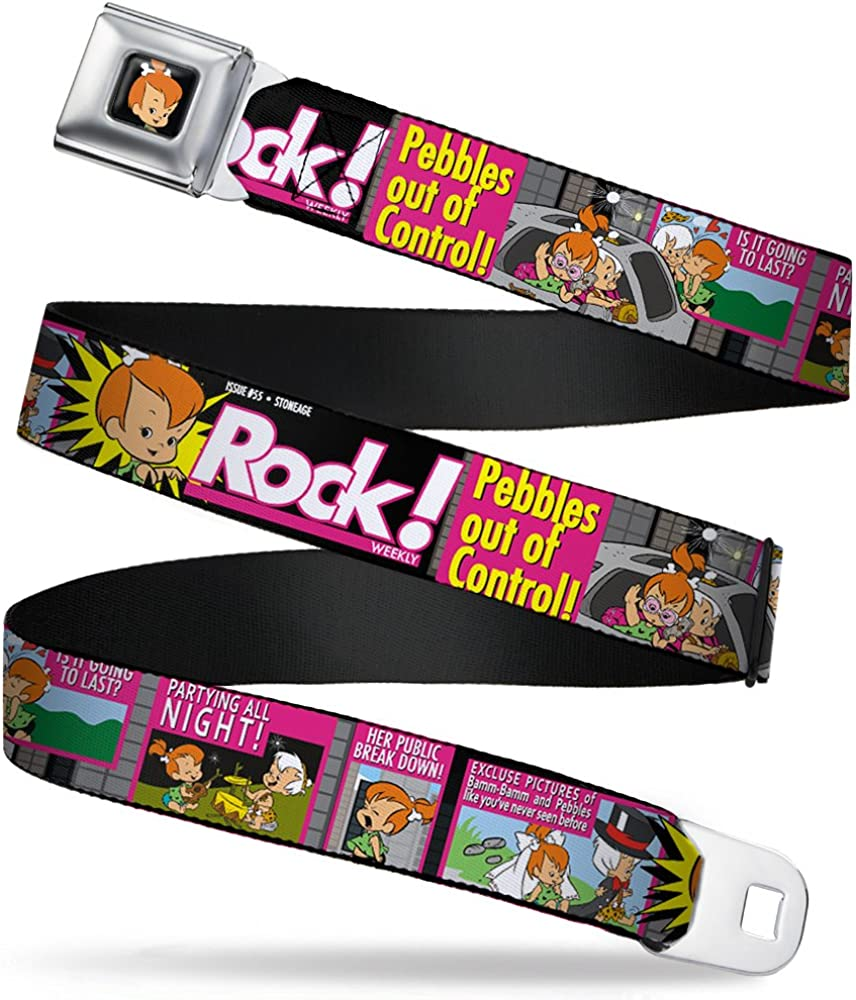 Buckle-Down Seatbelt Belt - The Flintstones Tabloid - ROCK! PEBBLES OUT OF CONTROL - 1.0
