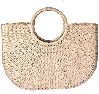 99ea23cb0c Sac de plage semi-circulaire pour femme, sac en paille tricoté, sac d