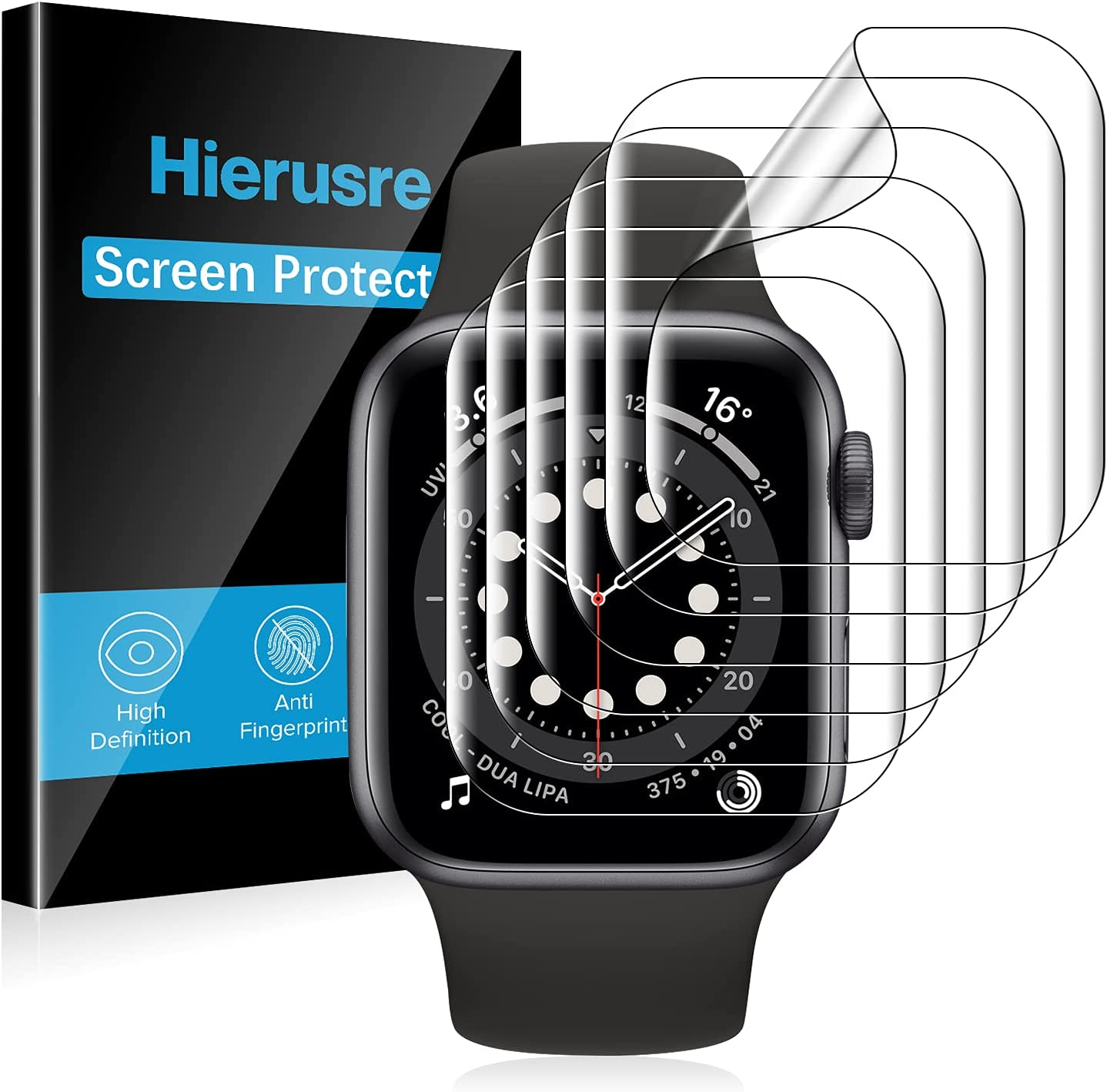 [6 Pack] Hierusre Screen Protector Compatible with Apple Watch Series SE/6/5/4 44mm and Series 3/2/1 42mm, Apple Watch TPU Film iWatch Cover, Bubble-Free HD Clear Anti-Peel (44mm/42mm)