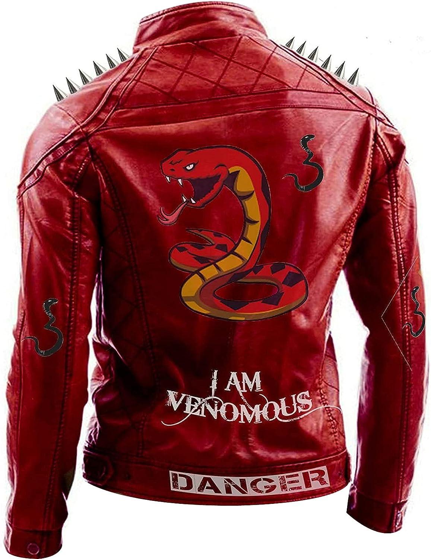 UGFashions I am Venomous Snake Logo Poison Danger Bite Breath Red Motorcycle Spikes Biker Leather Jacket