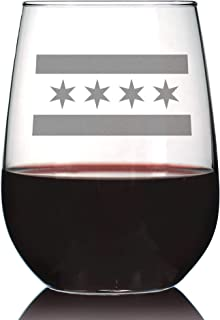 Chicago Flag – Cute Chitown Stemless Wine Glass, Large 17 Ounce Size, Etched Sayings, Gift Box