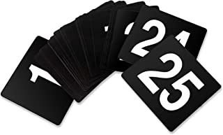 New Star Foodservice 23145 Double Side Plastic Table Numbers, 1 to 25, 4 by 4-Inch, White on Black