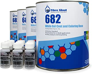 Fibre Glast RAL 9003 Color Gel Coat - Signal White - Case Kit (4 Gallons) - Professional Grade Gel Coat for High Gloss Surfaces - with MEKP Hardener0