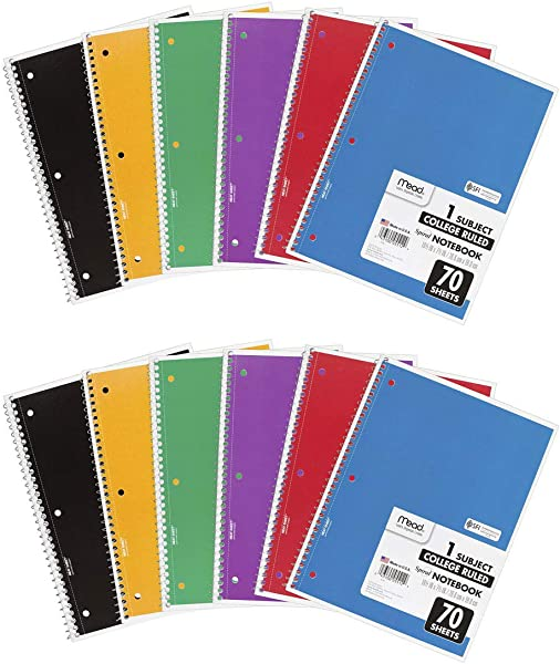 Mead Dsfs Spiral Notebooks 1 Subject College Ruled Paper 70 Sheets 10 1 2 X 7 1 2 Assorted Colors 73065 12 Pack