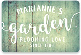 Pattern Pop Personalized Mint Rustic Garden Blooming Love Metal Room Sign