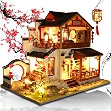 JZH-Light Wooden Miniature Dollhouse 3D Puzzles Villa House Model Kits Antique Chinese Style Creative Room Home Decoration Building Toys Gift Exquisite Collectibles (26.518.622 cm)
