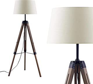 Ambiore Wood Tripod Floor Lamp with Complimentary Bulb Coventry - Vintage Indoor Standing Light for Living Room and Bedroom - Wood wash Grey Finish with Linen Beige White Shade - White
