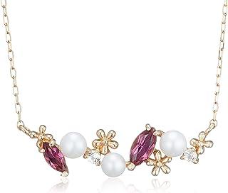 [CHIARO DI DIAMANTE] CHIARO DI DIAMANTE K10玫瑰金 淡水珍珠 粉色碧玺 白色黄玉 花朵 吊坠项链 CHS808