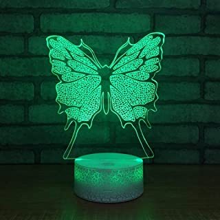 BFMBCHDJ Mariposa 3D Night Light LED 7 Color Change USB Desk Lámpara de mesa Sala de estar Acylic Animal Lamp Touch Switch Kids Gift Toy