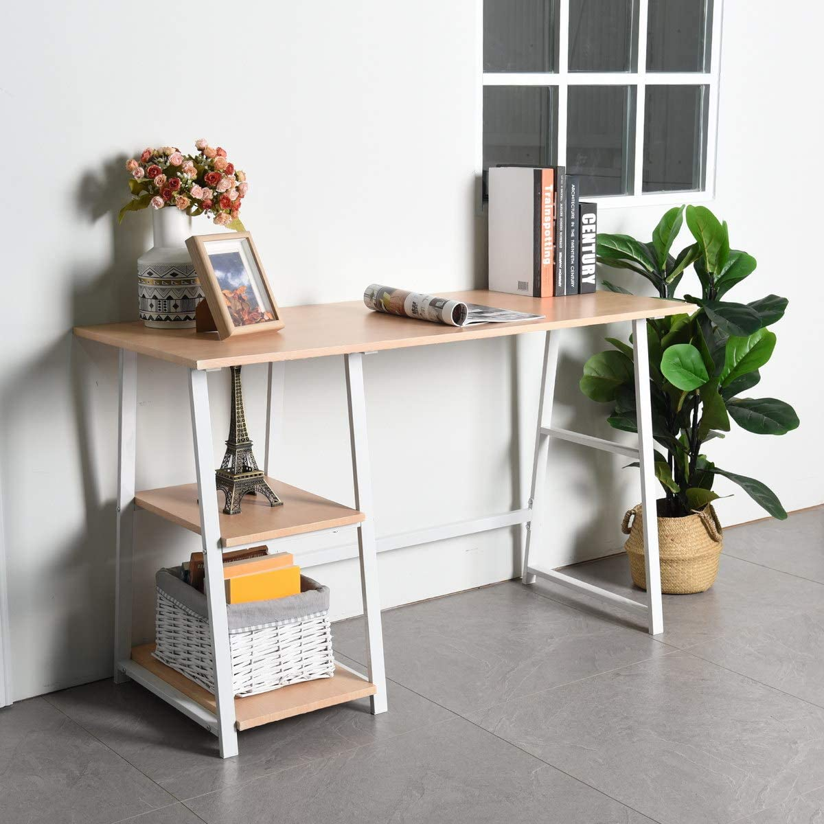 redcolourful Wooden Desk with 2 Storage Leisure Max 76% Portland Mall OFF Modern Racks