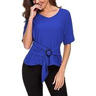 ACONIYAWomens Tie Knot Casual Belted Blouse Elegant Long/Short Sleeve Shirt Work Tunic Tops