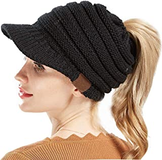 ANTTAA Women's Soft Winter Warm Knitted Hat Visor Brim Skully Cap Keep Warm Baseball Cap Beanie Tail