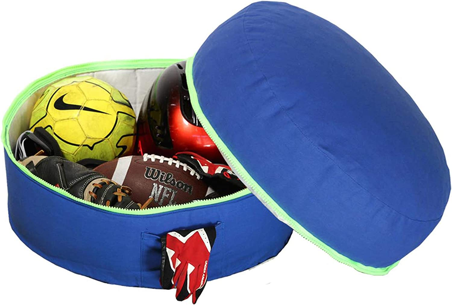 Mimish Patented Exposed Zipper & 2 Outer Pockets Storage Pouf, Surfer bluee with Neon Green