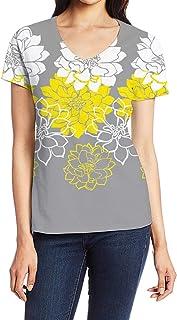 Women`s Tops Tees Fun T Shirts for Women Girls, Short Sleeve V Neck Casual Shirts, Dark Green Plant Leaves