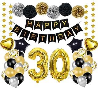 Decoración de cumpleaños oro negro, decoración fiesta cumpleaños, guirnalda papel estrella, pancarta flor de papel, globos...