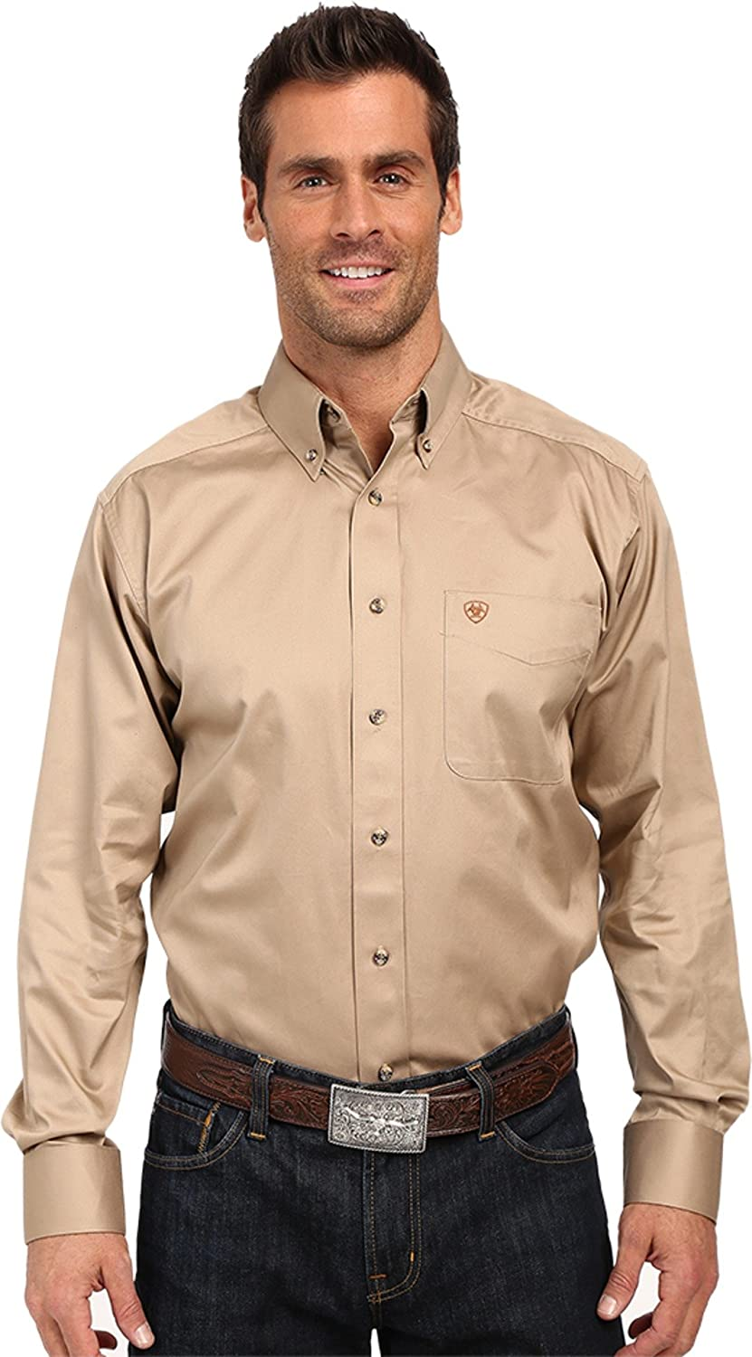 Ariat Solid Twill Classic Fit Shirt - Men's Long Sleeve Western Button-Down