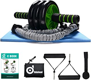 Odoland 3-In-1 AB Wheel Roller Kit AB Roller Pro with Resistant Band, Knee Pad, Anti-Slip Handles, Storage Bag and Training Program - Perfect Abdominal Core Carver Fitness Workout for Abs