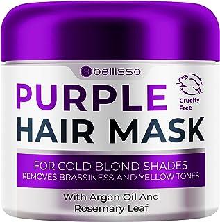 ماسک بنفش Bellisso برای موهای بلوند - دیگر رنگ زرد یا مسی ندارد - نرم کننده عمیق قفل های درمان شده با رنگ با درمان روغن آرگان کراتین و مراکش