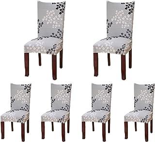 Sinderay Lot de 6housses de protection pour chaises de salle à manger courtes et étirables en élasthanne doux pour maison...