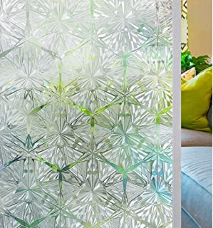 Homein Decorative Window Film Privacy Crystal Diamond Stained Glass Window Film Static Cling Door Film Removeable Window S...