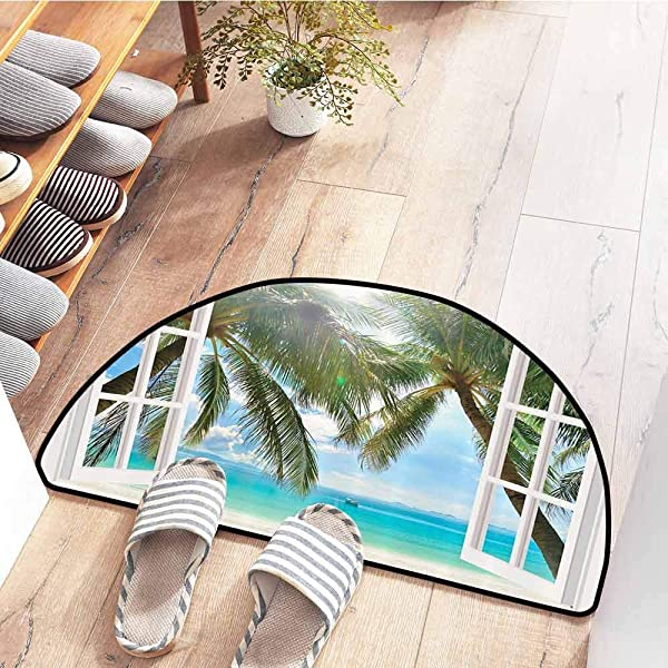 SEMZUXCVO Welcome Door Mat Ocean Decor Palm Trees Tropical Island Beach Nature Paradise Wooden Windows Scene Indoor Outdoor Waterproof Easy Clean W31 X L20 Blue Aqua Turquoise Green And White