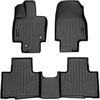 SMARTLINER Floor Mats 2 Row Liner Set Black for 2020-2021 Highlander Fits w/ 2nd Row Bench or Bucket Seats w/Center Consol...