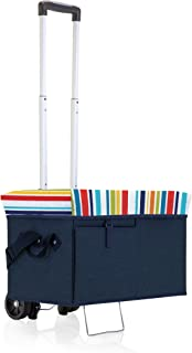 ONIVA - a Picnic Time Brand Ottoman Insulated Collapsible Cooler/Picnic Tote with Wheeled Trolley, Navy with Fun Stripes